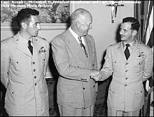 President Eisenhower congratulating two ace pilots--Fernandez and Joe McConnell
