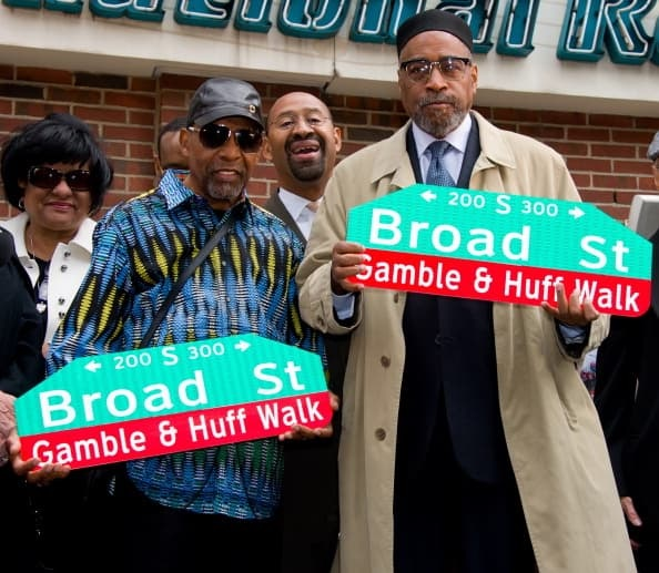 """Gamble & Huff on street newly named for them """"Gamble & Huff"""" walk"""