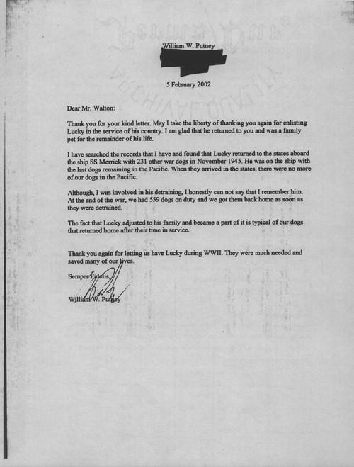 war dog letter