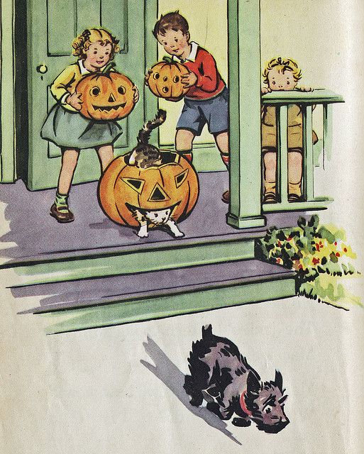 illustration from Halloween story of Dick and Jane