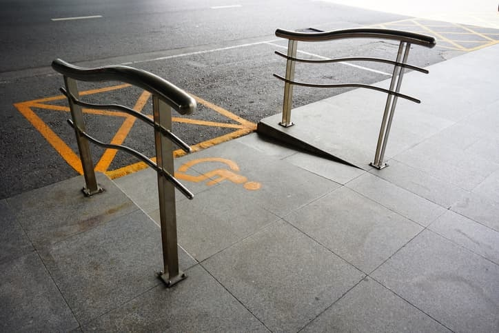 wheelchair ramp and curb cut